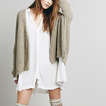 Free People Womens Waffling Around Cardigan