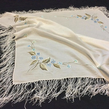 Blue on White Head scarf, Hand Painted Shawl Anniversary Gift for  Wife, Wedding Fringed Shawl, One of kind Birthday Gift for Mother in law