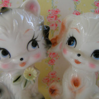 Vintage Napco.... Adorable Puppy and Kitty Figurines..Baby Nursery Decor...Birthday Cake Topper