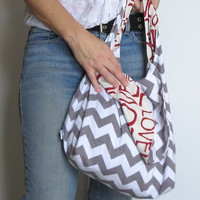 Purse. JERSEY Fabric Hobo Bag. Sling Purse. Chevron Gray White. REVERSIBLE Choose Interior Cotton or Knit Lining. Mom Bag Diaper Bag.
