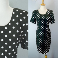 Vintage 80s Polka Dot Dress, Shift Dress, Black Dotted Dress, Little Black Dress, 1980s Dress, 80s Dresses, Size 8 Medium Dress