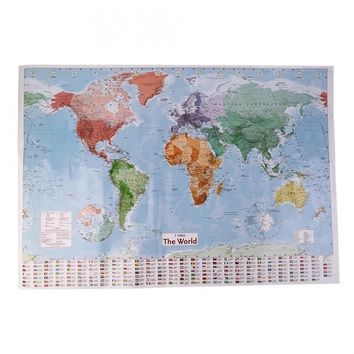 Unique Designed 98 x 68 cm English Large Map of the World with Country Flags Office Wall Poster