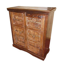 Antique Wooden Sideboard Handcarved Rustic Furniture