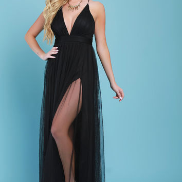 Deep V-Neck Side Slit Maxi Tulle Dress