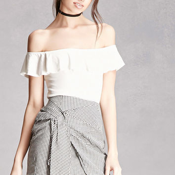 Gingham Ruched Mini Skirt