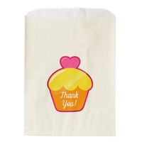 Sweet Heart Cupcake Thank You Ecru Favor Bag