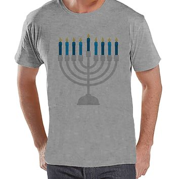 Hanukkah Shirt - Menorah Shirt - Men's Hanukkah Menorah Grey T-shirt - Happy Hanukkah Outfit - Hanukkah Gift Idea - Family Holiday Shirts