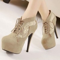 Women's Lace Floral Patchwork High Heels Platform Suede Shoes Ankle Boots Bootie