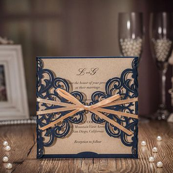 1pcs Sample Royal Blue Laser Cut Wedding Invitations