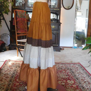 Maxi Skirt Broomstick Prairie Bohemian Flair Layered Brown Tiered Cotton Size Small Gypsy Folk Zipper Closure Hippie Festival Indie Long