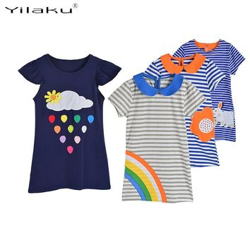 Appliques Girl Dress Stripe Children Summer Clothing Clouds Rainbow Rabbit Sunflower Pattern Girls Dresses Girl Clothes CA384