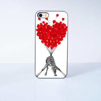 Cute Giraffe With Flying Ballon Plastic Case Cover for Apple iPhone 5s 5 6 Plus 6 4 4s  5c