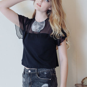 Moonsuit - Black crop top with moon insert and flutter sleeves