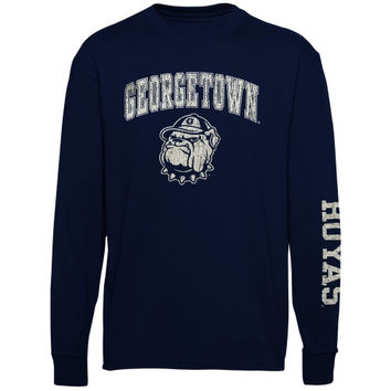 Georgetown Hoyas Youth Distressed Arch & Logo Long Sleeve T-Shirt – Navy Blue - http://www.shareasale.com/m-pr.cfm?merchantID=7124&userID=1042934&productID=554814914 / Georgetown Hoyas