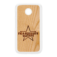 Carved on Wood Effect_Celebrity Hater White Hard Plastic Case for Moto E by Chargrilled