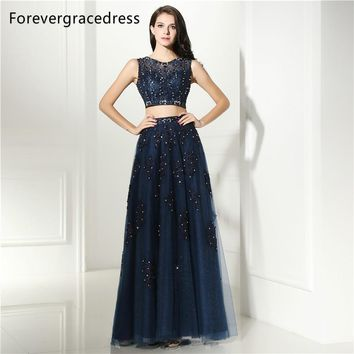 Forevergracedress Sexy Navy Blue Prom Dress Two Pieces Sheer Illusion Neck Applique Long Formal Party Gown Plus Size Custom Made