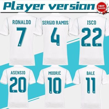 New Player version Real Madrid Home white Soccer Jersey 17/18 Ronaldo Real Madrid socc