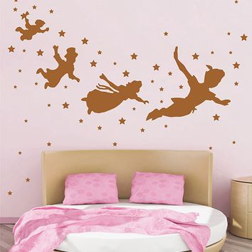 ik2800 Wall Decal Sticker Peter Pan fairy tale of Big Ben room children's bedroom