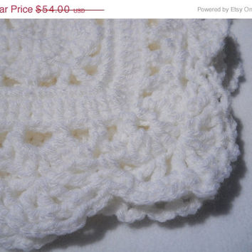 White Baby Crocheted Afghan Christenings Dedications Baby Blanket Lace