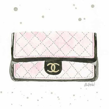 Classy Chanel Clutch - Print of original watercolor & pen fashion illustration by Lexi Rajkowski, home decor, vanity decor, wall art, art