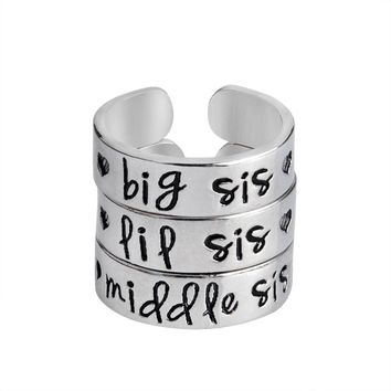 3 pcs/set bis sis middle sis lil sis Ring Love Heart Opening Ring for Family sister Best Friends Silver Jewelry For Women
