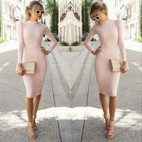 Light Pink Long Sleeve Casual Bodycon Midi Dress
