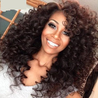 Peruvian Glueless Kinky Curly Wig With Baby