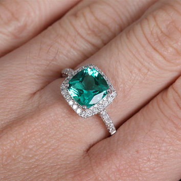 8mm Lab Emerald Engagement ring White gold,Diamond wedding band,14k,Cushion Cut Treated Emerald,Green Gemstone Promise Ring,Bridal Ring,halo