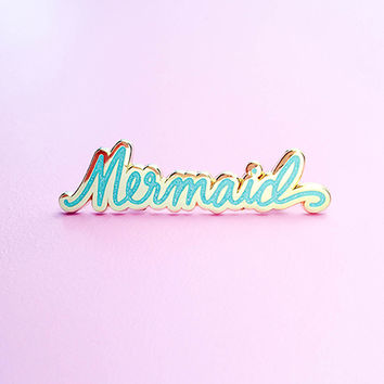 Mermaid Lapel Pin - Blue Glitter