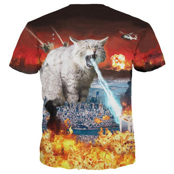 New Arrival Men/Women 3d T-shirt Print Superpower Meow Star Cat Spurt Lightning Quick Dry Summer Top