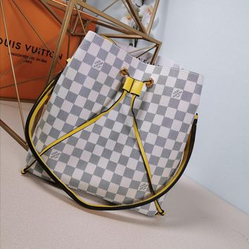 Kuyou Lv Louis Vuitton Gb29714 M44022 Monogram White Yellow Handbags Cross Body Bags Neonoe 26*22*27cm