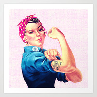Fight Like A Girl Rosie The Riveter Girly Mod Pink Art Print by Girly Road