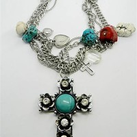 Chunky Cross Necklace Multistrand Turquoise Cross Necklace