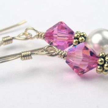 14K Gold Freshwater Pearl Earrings October Rose (Pink Tourmaline) Pearl Swarovski Crystal Elements
