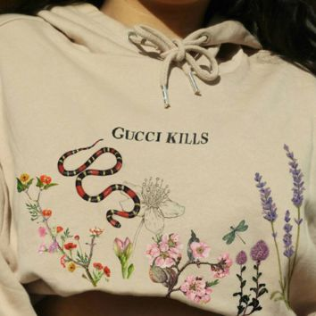 GUCCI KILLS Snake Print Hoodies Women Sweatshirt