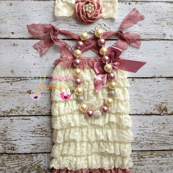 NEW Ivory and Rose  Lace Petti Romper set- Newborn - Baby Girl - Toddler outfit- birthday outfit - Valentines Day- birthday outfit