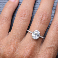 1.25 Carat Sterling Silver Cubic Zirconia Engagement Ring Sets