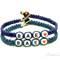 Couples or Friendship Bracelets, Dark Blue and Dark Teal Macrame Hemp Jewelry, BAE