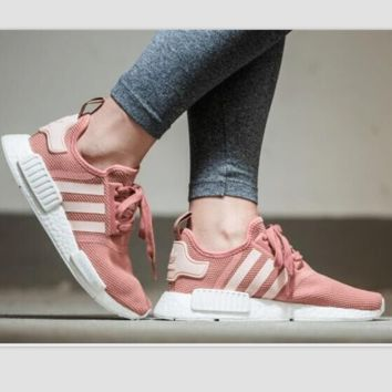 """Adidas"" Women Fashion Trending Running Sports Reflective Shoes Grey Silver Pink(White soles)"