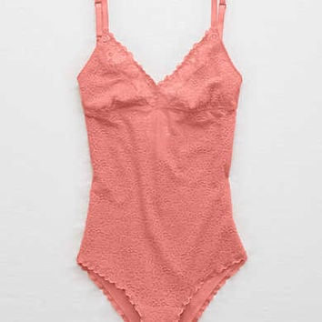 Aerie Lace Bodysuit , Tropical Coral