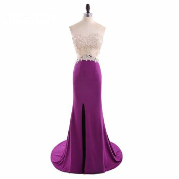 Sweetheart Neck Chiffon High Slit Mermaid Long Prom Dresses Appliques Backless Floor Length Prom Dress