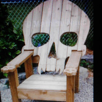 SKULL CHAIR , ADIRONDACK chair, yard furniture,  cedar , skeleton themed