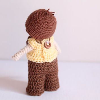 Crochet Boy in Giraffe Outfit: Handmade, Waldorf Inspired, Stocking stuffer