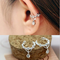 Cute Without Pierced Ear Bone Folder Punk Fashion Ear Cuff Wrap Rhinestone Cartilage Clip On Earring Non Piercing  Jewelry = 1945965956