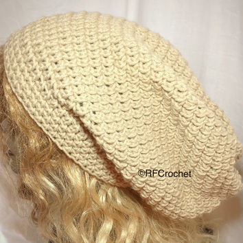 Light Brown Beanie | SOFT Classic Style | Large | Khaki | Dreadlock Hat | Men | Women | Locs | Long Hair | Slouch | Fall