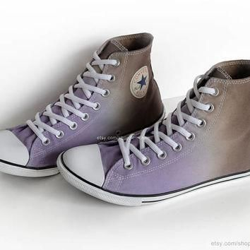 Ombr¨¦ dip dye Converse All Stars, purple, mocha brown, upcycled sneakers, transformed
