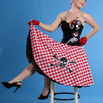 Rockabilly corset with Checked skirt