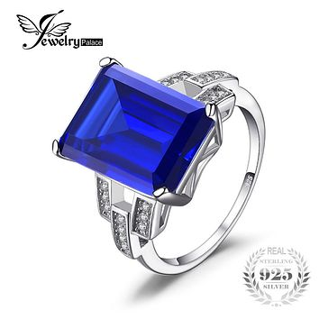 JewelryPalace Luxury Emerald Cut 9.6ct Created Blue Sapphire Cocktail Ring Genuine 925 Sterling Silver Ring Fashion Women