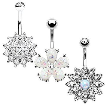 BodyJ4You 3PC Jeweled Created-Opal Flower Belly Button Ring Set 14G Surgical Steel Curved Navel Barbell