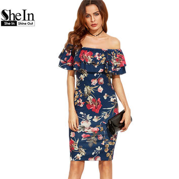 SheIn Summer Dress Clothes Women Short Sleeve